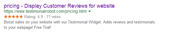 rich snippet ratings for google